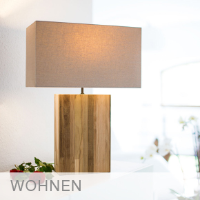 Wohnen-Tischlampe-Holz-Leinen